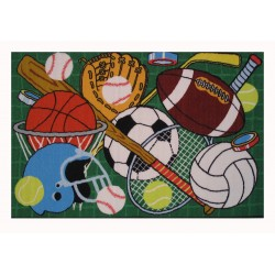 LA Fun Rugs FT-124 Green Let's Play Fun Time Collection