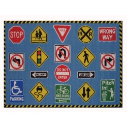 "LA Fun Rugs FT-130 Traffic Signs Fun Time Collection - 39"" x 58"""