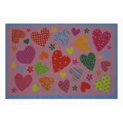 LA Fun Rugs FT-127 Pink Hearts Fun Time Collection