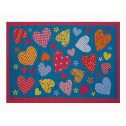 LA Fun Rugs FT-128 Turquoise Hearts Fun Time Collection