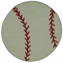 "LA Fun Rugs FTS-005 Baseball Fun Time Shape Collection - 39"" RD"