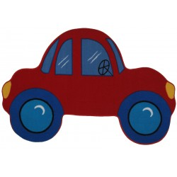 """LA Fun Rugs FTS-027 Red Car Fun Time Shape Collection - 39"""" x 58"""""""