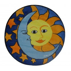"""LA Fun Rugs FTS-062 Day & Night Fun Time Shape Collection - 39"""" RD"""