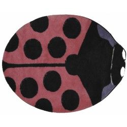 "LA Fun Rugs FTS-074 Pink Lady Bug Fun Time Shape Collection - 35"" x 39"""