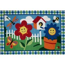 LA Fun Rugs OLK-001 Happy Flowers Olive Kids Collection