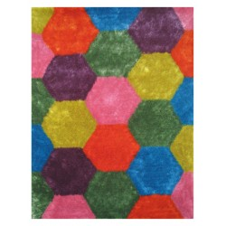 "LA Rug ES-24 Hexagons 1 Exotic Collection - 39"" x 58"""