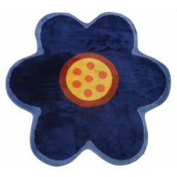 "LA Fun Rugs FTS-021 Blue Poppy Fun Time Shape Collection - 39"" x 39"""