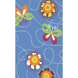 """LA Fun Rugs NF-173 Butterfly Garden 39"""" x 58"""" Night Flash Collection"""